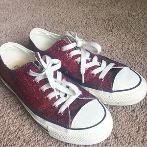 Converse red sparkly sneakers. 6.5